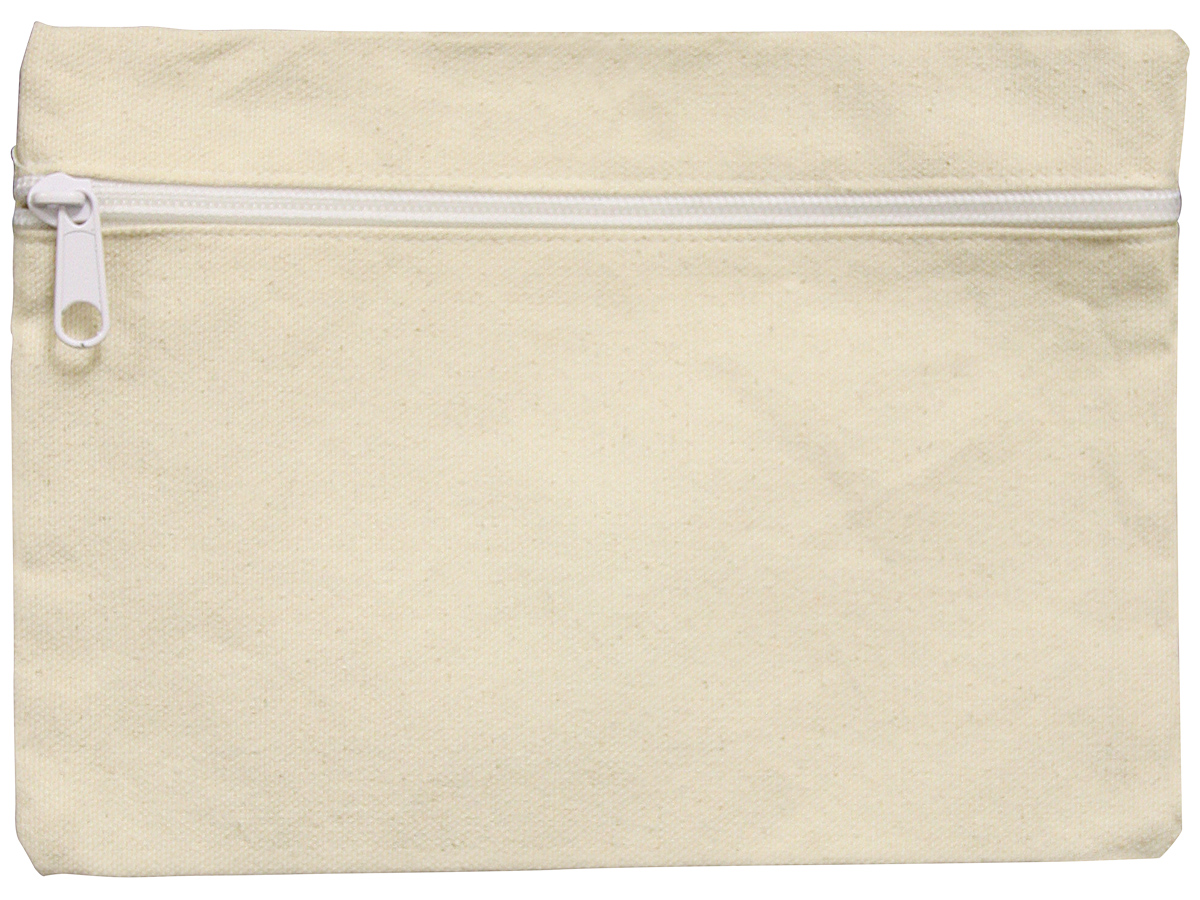 Canvas Zippered Cosmetic Bag 6x9in Natural