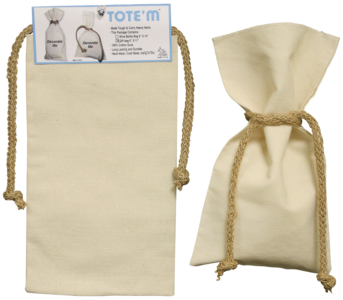 Canvas Gift Bag W Jute Ties 6x11in Natural