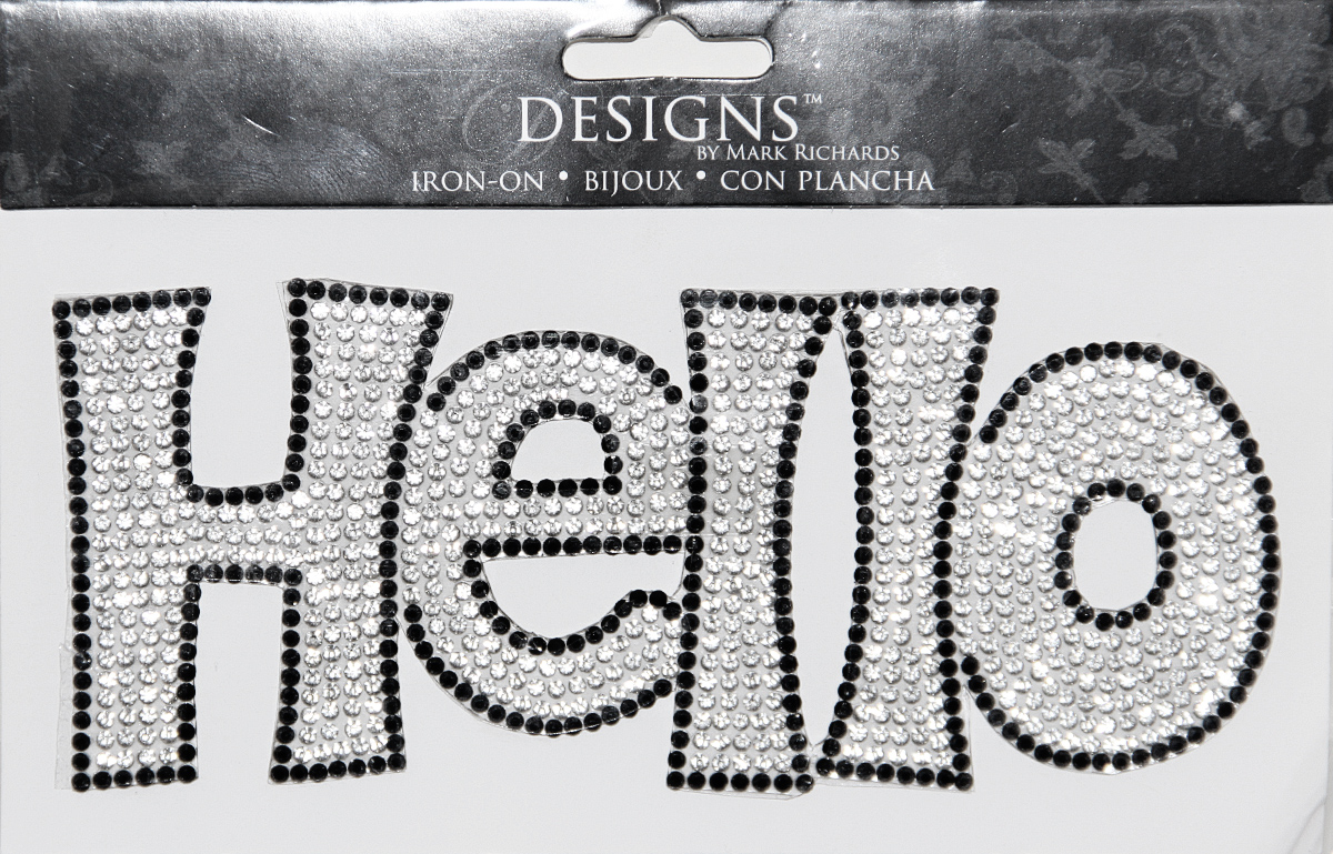 Designs™ iron ons :: everyday :: rhinestone applique word hello